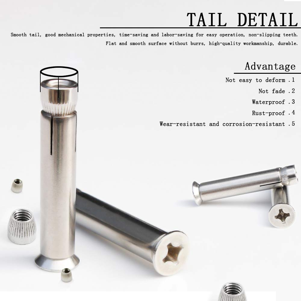 DAZISEN M8 Expansion Bolts M1070 Silver Expansion Bolt 304 Stainless Steel Sleeve Anchors