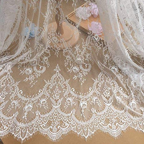 Ivory Lace Fabric Eyelash Chantilly Floral Bridal/Wedding Dress Flower African Lace Table Runner Tablecloth DIY Crafts Scallop Trim Applique Ribbon Curtains 300cmx150cm ALE02 (Dress Wedding Material)