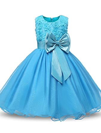 Amazon.com: Mallimoda Girl\'s Lace Tulle Flower Princess Wedding ...