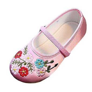 825ba0d0e7 Yy.f YYF Fille Enfant Chaussure Fleur Chinoise Broderie en Soie et Toile Chaussure  Plat