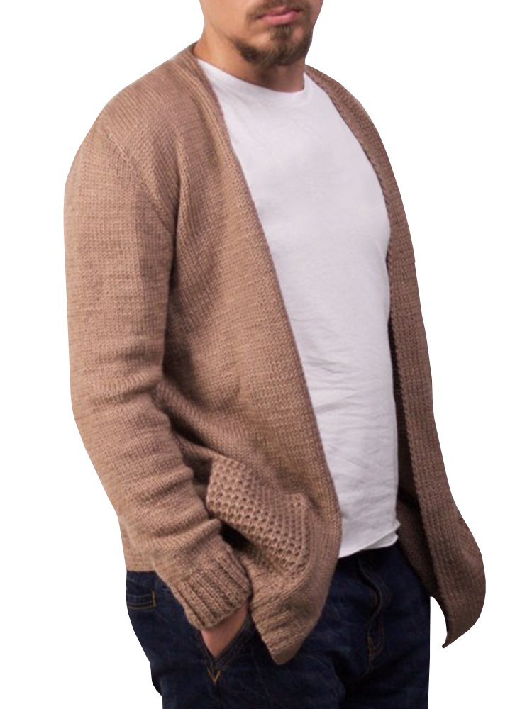 Enjoybuy Mens Open Front Knit Sweater Cardigan Long Sleeve Casual Drape Cape with Pockets