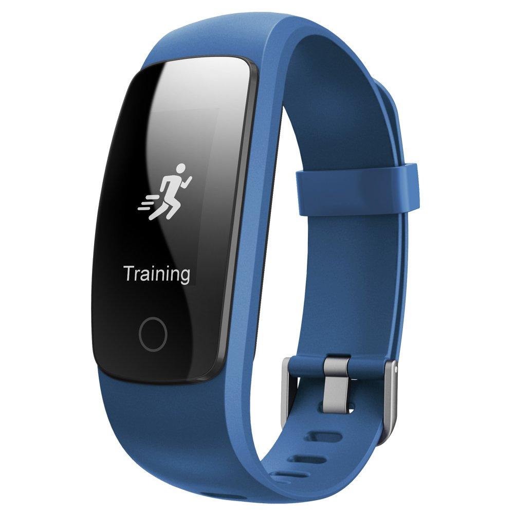 Juboury Fitness Armband, Fitness Tracker mit Pulsmesser Aktivitä tstracker Schrittzä hler SchlafMonitor Stoppuhr IP67 Wasserdicht FitnessUhr Fitness Armbä nder Android/iOS Phones KEDA DE ID107P blu