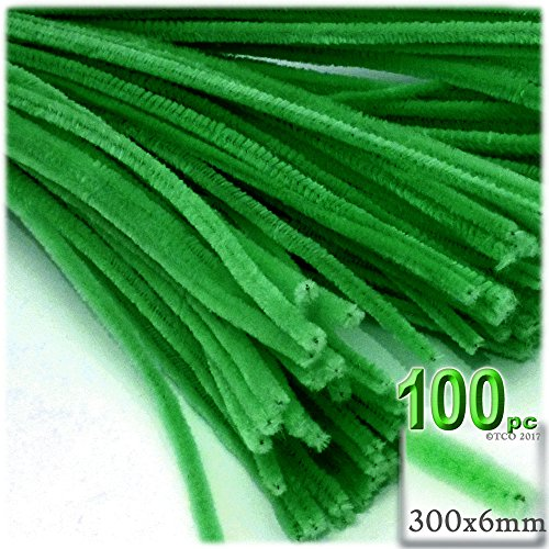 6 Mm Light Green (The Crafts Outlet Chenille Stems, Pipe Cleaner, 12-inch (30-cm), 100-pc, Light Green)