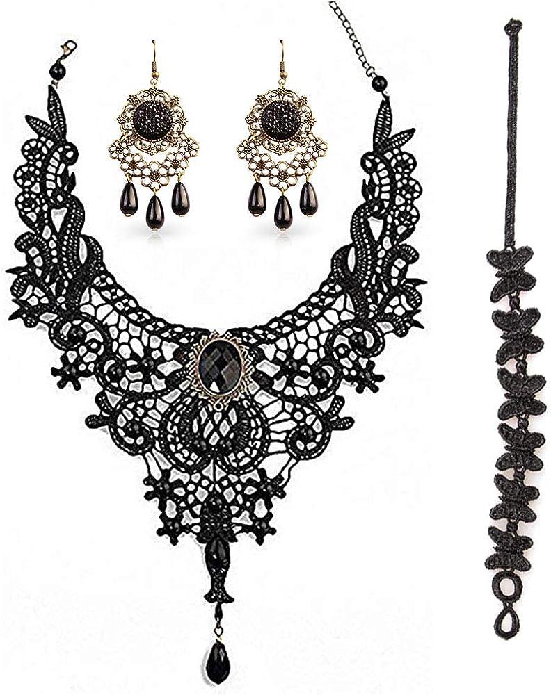 Conjunto de collar y aretes de encaje negro, gargantilla colgante BagTu Gothic Lolita negra para un disfraz de Halloween y una boda (negro)