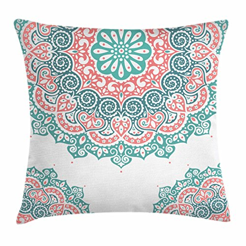 Henna Throw Pillow Cushion Cover by Ambesonne, Soft Colored Mandala South Asian Culture Inspired Ethnic Style Floral Image, Decorative Square Accent Pillow Case, 16 X 16 Inches, Turquoise Coral Teal (Coral Pillows Colored)