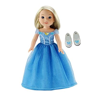14 Inch Doll Clothes/Clothing | Fabulous Princess Cinderella-Inspired Costume Ball Gown and Sparkly Slippers | Fits American Girl Wellie Wishers Dolls: Toys & Games