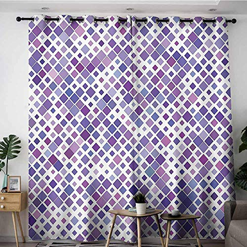 Onefzc Indoor/Outdoor Curtains,Lavender Purple Retro Mosaic Creative Pattern Square Rhythm Abstract Art Print Design,for Bedroom Grommet Drapes,W84x84L,Violet Purple White
