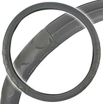 BDK Motor Trend SW-791-GR Truck Steering Wheel Cover-Big Rig Semi Trailer-X Large 18 Inch-Comfortable Grip for Long Drive Gray