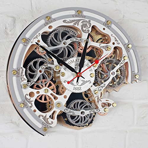 Automaton Bite 1682 White HANDCRAFTED moving gears wall clock by WOODANDROOT transparent steampunk wall clock, unique, personalized gifts, anniversary gift, large wall clock, home decor by WOODANDROOT (Image #4)