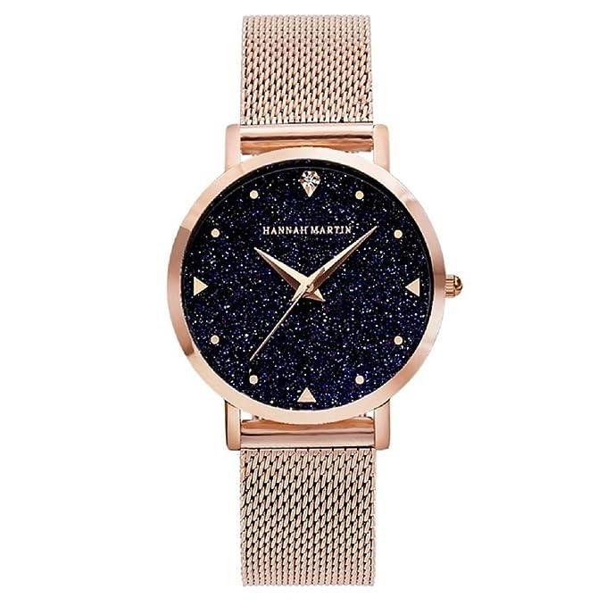 Mujer Relojes, Lananas 2018 Cielo Estrellado Marcar Malla Pulsera Cuarzo Relojes con Caja de Regalo (Oro): Amazon.es: Ropa y accesorios