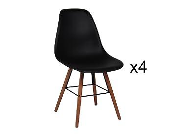 mobilier deco lot de 4 chaises scandinave noir oslo - Chaise Scandinave Noir