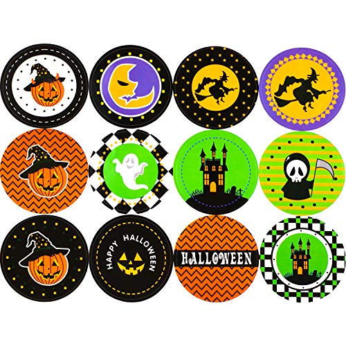 Boao 12 Sheets Halloween Stickers Assorted Halloween Cute Stickers Pumpkin Round Stickers for Party Favor Decoration