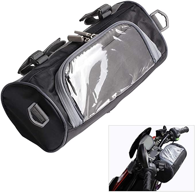 Bolsa de almacenamiento para manillar delantero de motocicleta, con pantalla táctil transparente, bolsa pequeña y correa de hombro ajustable extraíble
