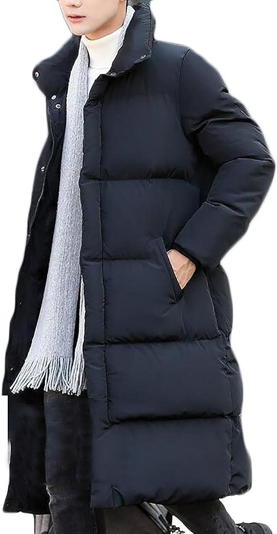 GAGA Mens Winter Thickened Puffer Long Down Jacket Ski Parka Snow Down Fill Coat Black M