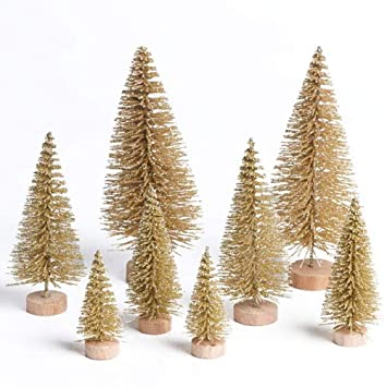 Weihnachtsdeko Gold.Ilovediy 5stück Weihnachtsbaum Künstlich Klein Weihnachtsdeko Gold Höhe 6cm 5stück