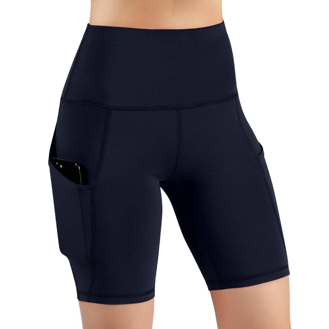 ODODOS High Waist Out Pocket Yoga Shots Tummy Control Workout Running 4 Way Stretch Yoga Shots, Navy, XX-Large