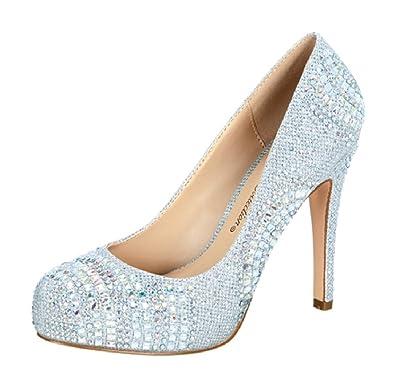 da1d9142659 Blossom Summer-47 Sexy Stiletto High Heel Pumps Almond Toe Rhinestones  Glitter