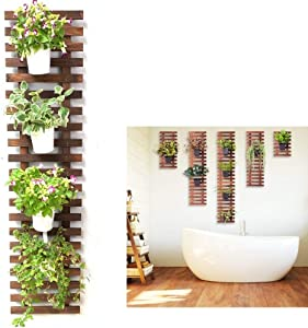 Wall Planter - Hanging Wooden Wall Planter for Indoor Outdoor Plants, Vertical Garden, Plant Wall, Wall Mount Planter, Air Plant Succulent Holder, Wooden Trellis for Climbing Plants
