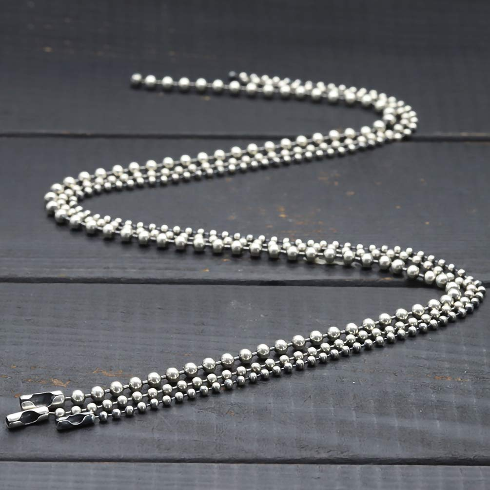Chain Width 3mm+20pcs connectors Tiparts 30 Feet Stainless Steel Ball Chains Necklace with 20pcs Connectors Clasps,Silver Bead Chain Sets