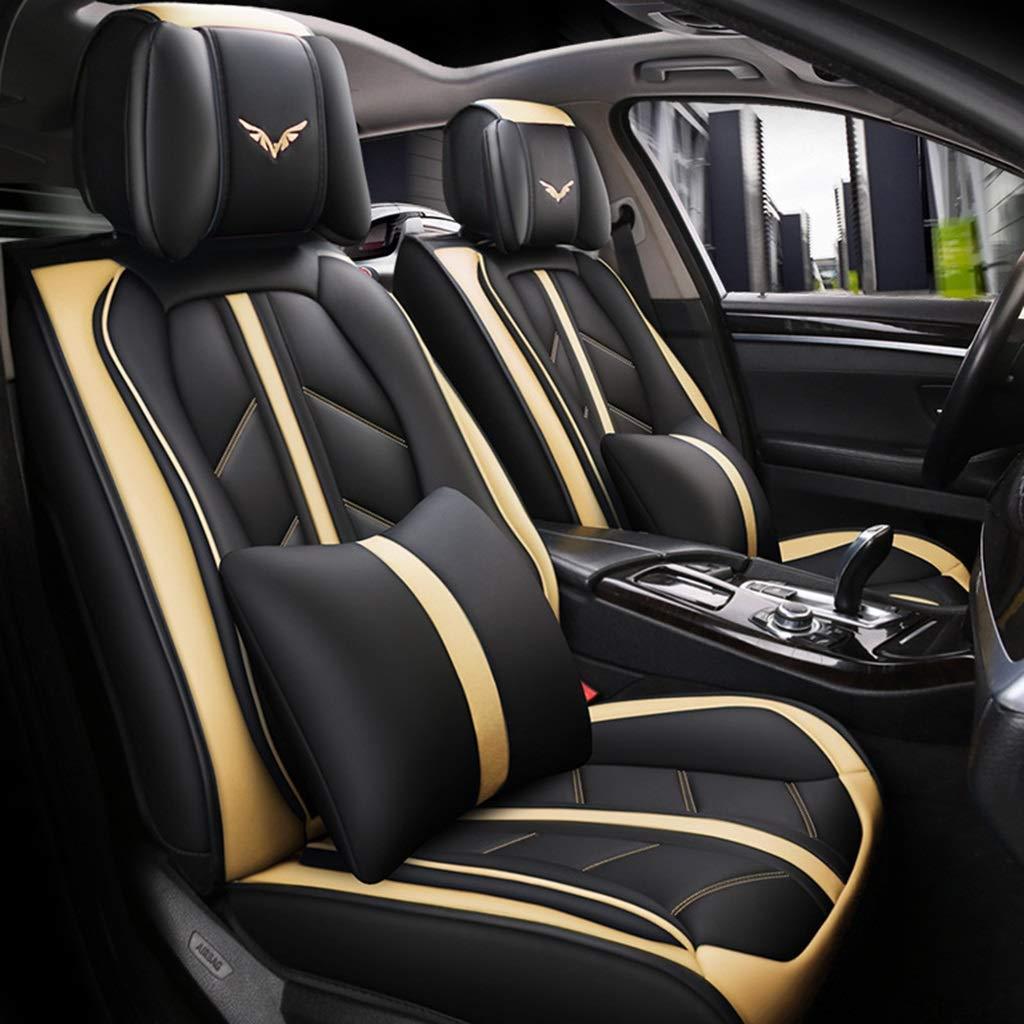 シートカバーユニバーサルレザーカーシートカバーフルセット、フィット5シートカー - 年間を通して(色:黄色)  Yellow B07TXC2SLQ
