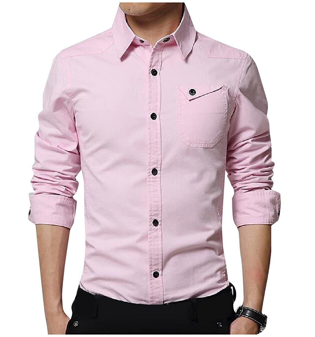 YUNY Men Long Sleeve Solid Casual Business Turn-Down Collar Woven Shirt AS1 M
