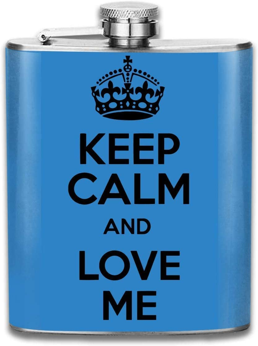 Eybfrre Men and Women Thick Stainless Steel Hip Flask 7 OZ Keep Calm and Love Me Pocket Container for Drinking Liquor Vodka Unisex