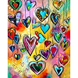 DIY 5D Diamond Painting by Number Kits Round Drill Rhinestone Embroidery Cross Stitch Pictures Arts Craft for Home Wall Decor,Colored Hearts 12x16inch