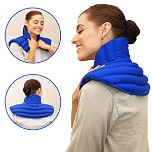 My Heating Pad Microwave Neck and Shoulder Heating Pad Plus| Neck Wrap Microwavable for Relief of Pain, Sore Muscles, Stress, Tension and Headaches | Neck and Shoulder Heating Pad (Blue Plus)