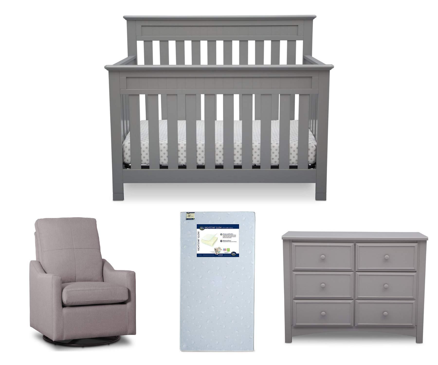 Delta Children Chalet 4-Piece Mix & Match Nursery Furniture Set (Convertible Crib, Dresser, Glider, Crib Mattress), Grey by Delta Children
