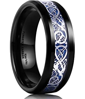 Queenwish 8mm Black Tungsten Mens Ring Celtic Dragon Wedding Band