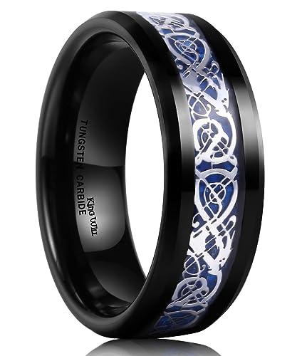 King Will Dragon Mens 8mm Black Tungsten Carbide Ring Blue Carbon