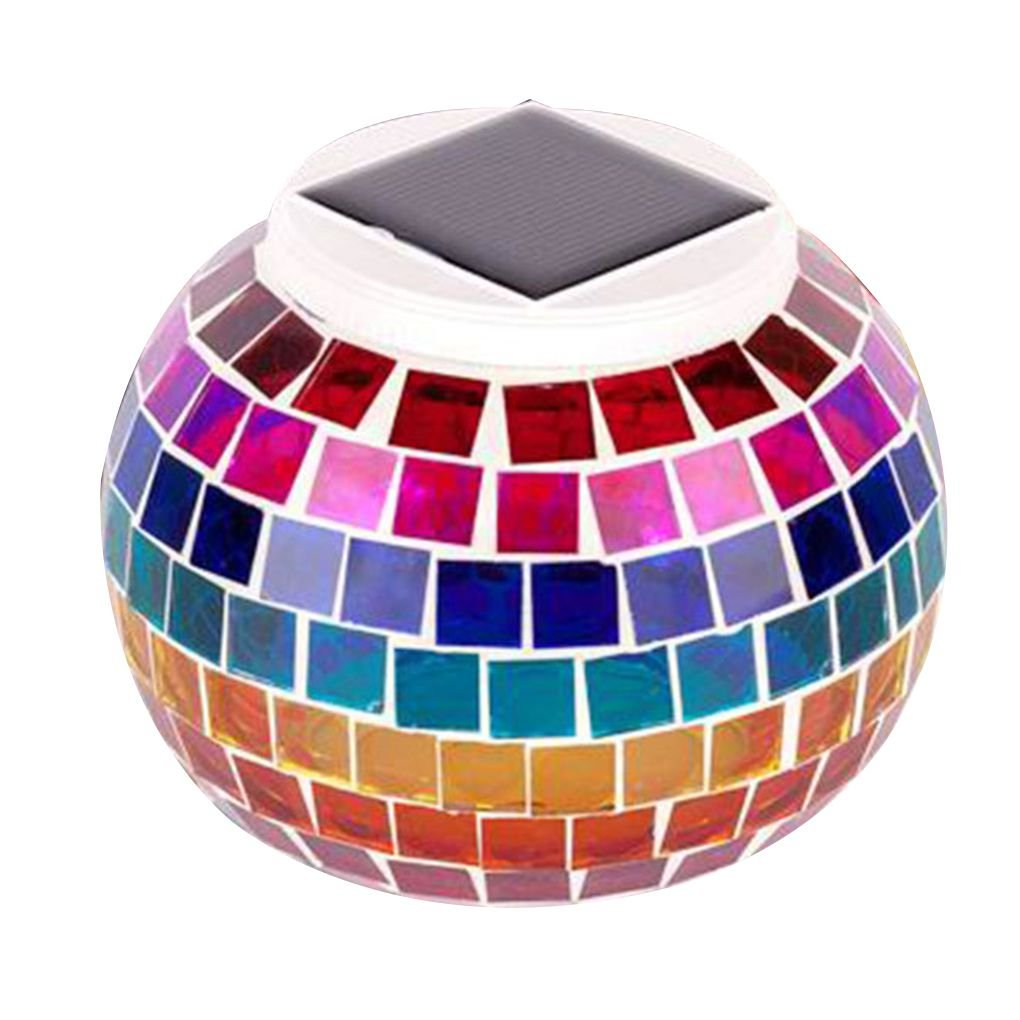 Cocoray Solar Mosaic Glass LED Decorative Table Light View Night Waterproof IP44 Lamp Lawn/Courtyard/Gifts Rainbow