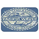VROSELV Custom Door MatModern Pacific WaveSurf Camp and School Hawaii Logo Motif with Artsy EffectDesign Khaki Slate Blue