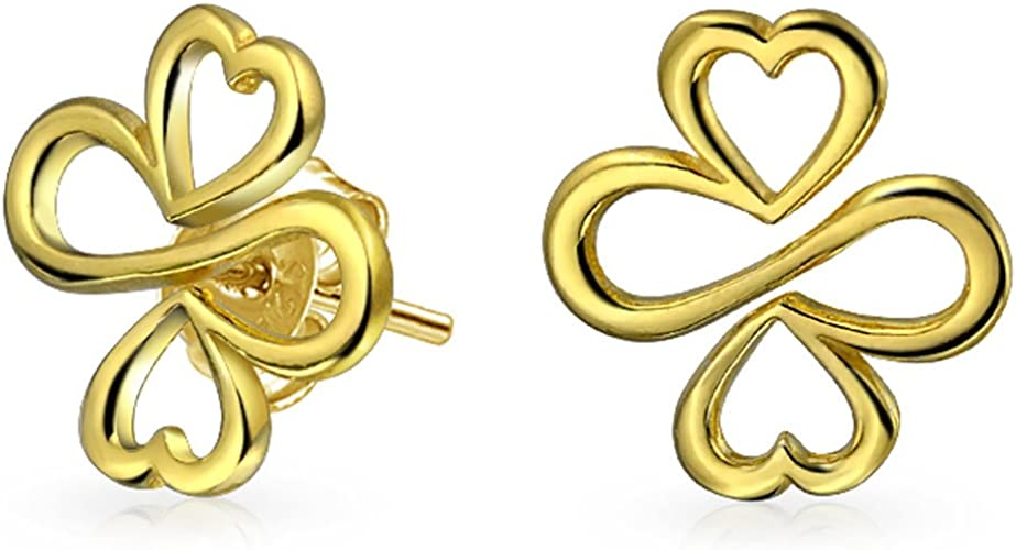 Ayllu Inspirational Symbol Heart Infinity Clover For Love Luck Unity Stud Earrings 14K Gold Plated Sterling Silver
