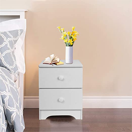 Bedside table nightstand bedroom night chest of drawers side table grey fabric