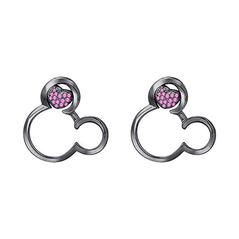 Disney Mickey Earrings 14K Black Gold Plated Round CZ Screwback Earrings Jewellery