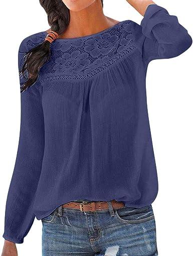Camiseta Manga Larga de Mujer Encajes Elegante Color sólido Blusa Blanco Camisa Basica Camiseta Otoño Tops Casual Fiesta T-Shirt Original Chaqueta vpass: Amazon.es: Ropa y accesorios