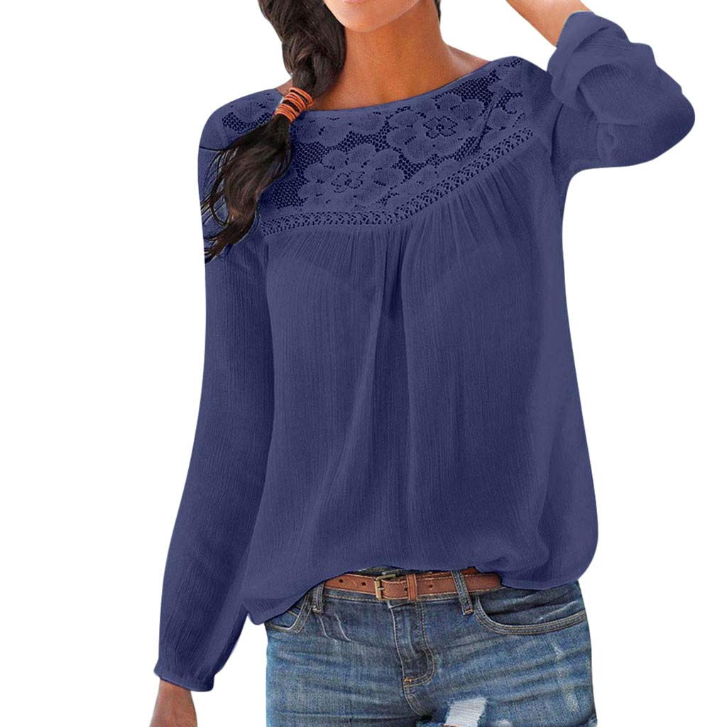 Women Tunic Blouse Long Sleeve Lace Patchwork Solid Color Print Loose Casual Tops (XXL, Navy)