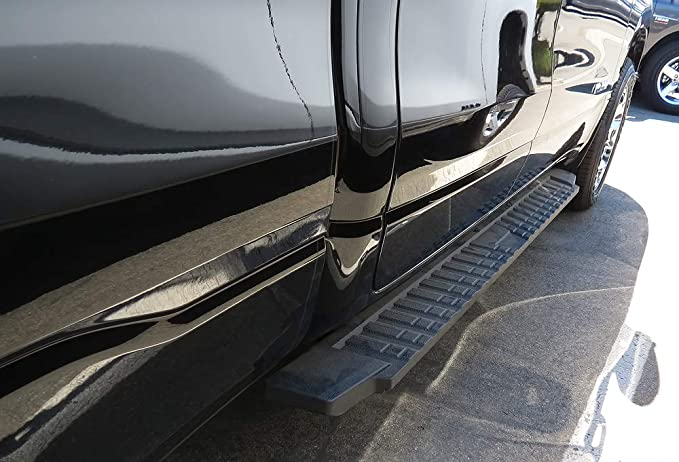 APS Black ABS Plastic Blow Molding Style Nerf Bars SideRails Compatible with 2004-2020 Nissan Titan Crew Cab Pickup 4-Door /& 16-20 Titan XD