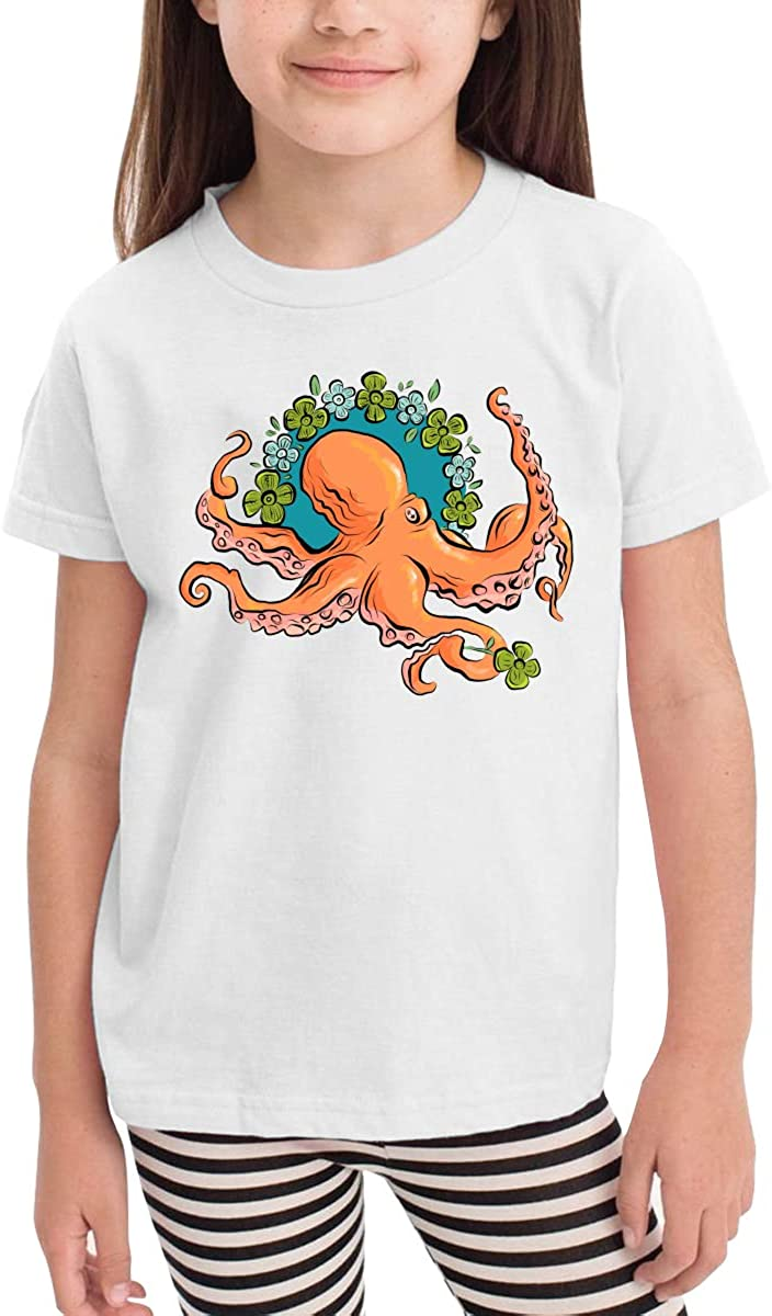 Toddler Boys Girls Kids Funny Graphic Flower Octopus White T Shirt Cotton Tee Summer Tops