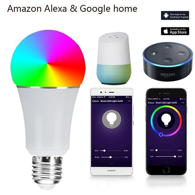 Hehong WiFi Smart Bulb, LED Multicolor Regulable 7W RGB Bombilla, Control Remoto y Voz controlada Amazon Alexa y Google Home No Hub requerido: Amazon.es: ...