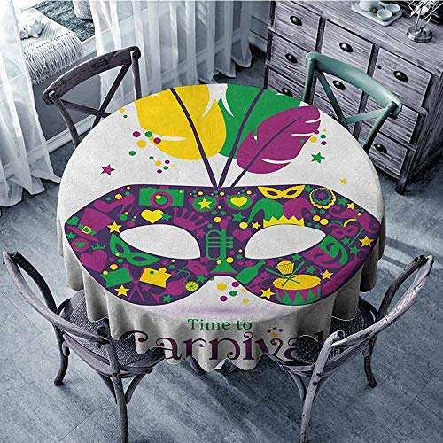 ScottDecor Print Round Tablecloth Tassel Tablecloth Mardi Gras,Time to Carnival Themed Design Mask with Carnival Icons and Feathers, Magenta Green Yellow Diameter 60