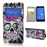 Xperia Z3 Case, Seedan Charm Series Flower Skull Pattern Wallet Case Stand Cover with Card Slot Design Protective Leather Cover for Sony Xperia Z3