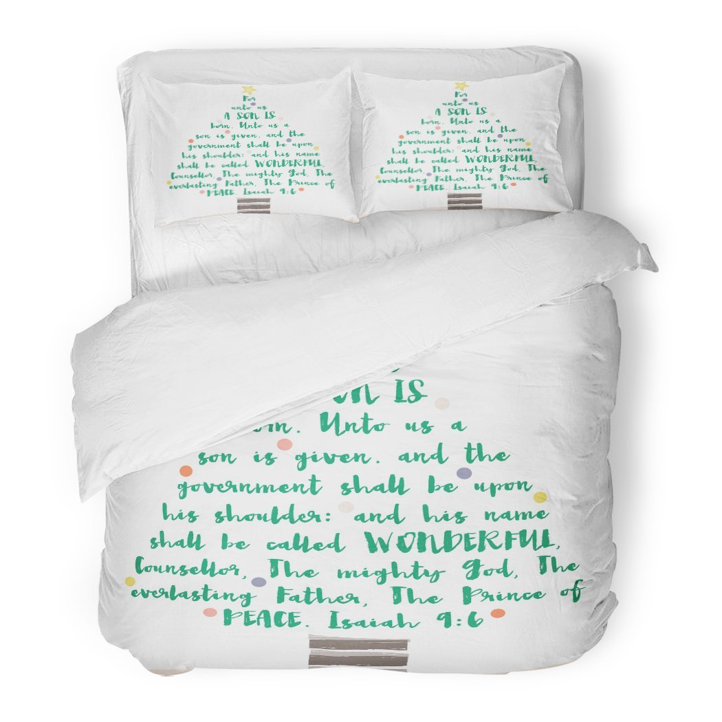 SanChic Duvet Cover Set Brushed Christmas Tree Bible Verse Made Words Chrismass Christian Decorative Bedding Set Pillow Sham Twin Size