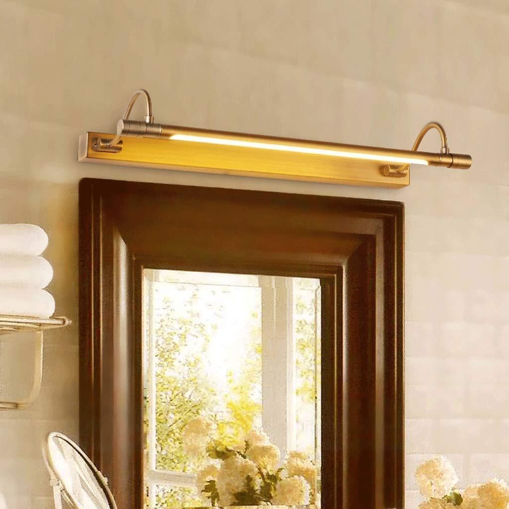 Chuen Lung Led miroir lumi/ère appliques murales lampe de salle de bains IP44 chaud classique vintage lampe de cuivre de haute qualit/é Couleur : Lumi/ère chaude-53cm