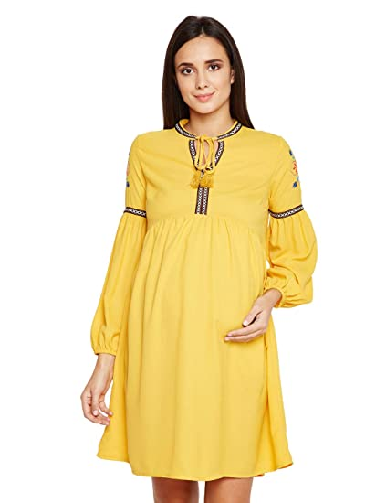 038f59275e0fb oxolloxo Women V Neck Yellow Maternity Dress (Long Sleeves): Amazon.in:  Clothing & Accessories