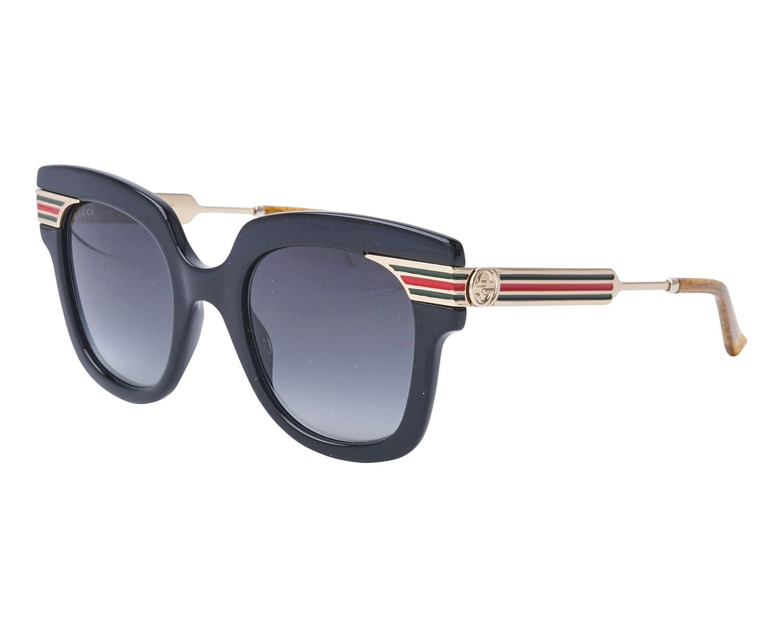 c7048784fc1 Amazon.com  GUCCI SYLVIE Stripe 0281 Gold Black Glitter Oversized Sunglasses  GG0281S  Clothing
