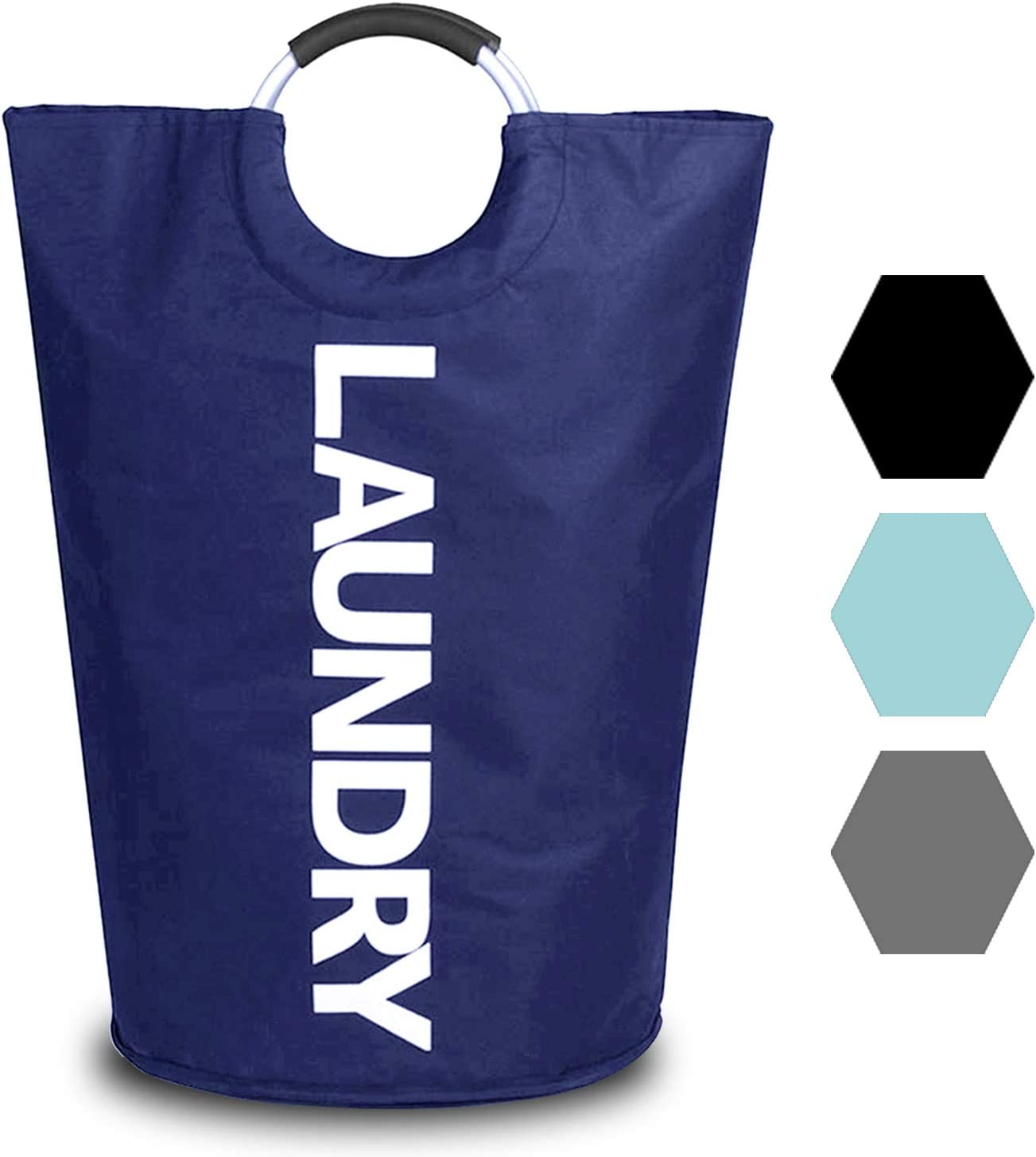Durable Handles Collapsible Fabric Laundry Bag, Waterproof Portable