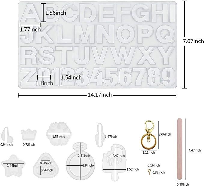 Schl/üsselanh/änger Schmuckformen f/ür Kunstharz mit Schl/üsselanh/ängerquasten und Stecknadel-Set. Alphabet-Silikon-Formen f/ür Buchstaben Zahlen Kunstharz Epoxidformen