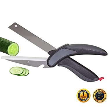 Kitchen Cutter, Cutting Board Scissors, 2 in 1 Design, Multipurpose Knife Scissors for Slice,Quickly and Easy Chop Meats,Vegetables and Fruits (Black)